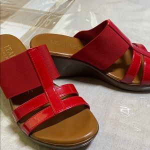 Italian made so cute red heeled sandals